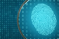 Fingerprint highlighted by a magnifying glass