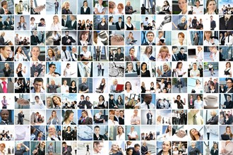 Montage of business professional