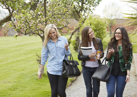 A group of smiling students walking in Chester campus gardens