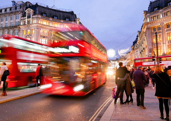 London's oxford street with moving bus