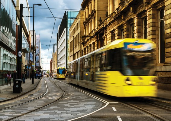 Tram lines in Manchester city centre