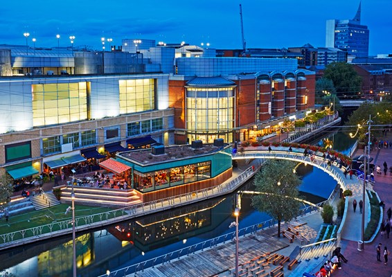 Aerial view of restaurants and bars in Reading town centre