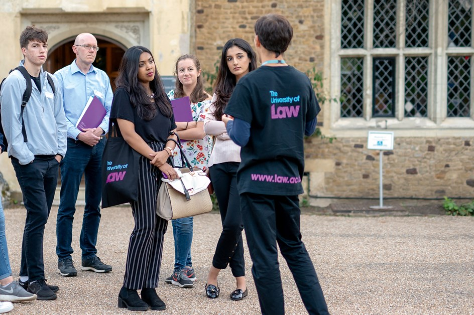 Prospective students on a guided tour around campus
