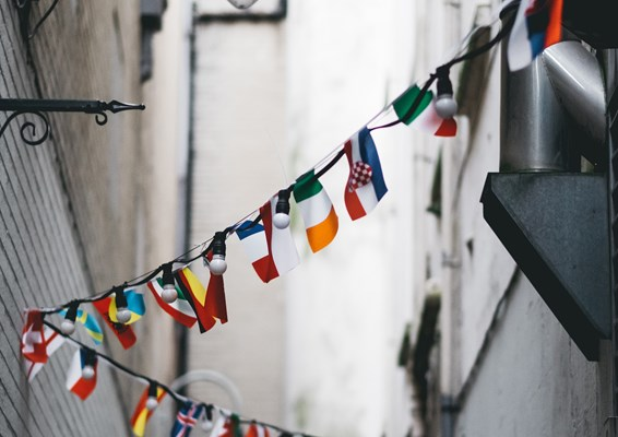 International flags hanging in the street