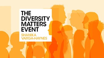 Diversity matters with Shanika Varga-Haynes - orange outlines of a diverse range of people