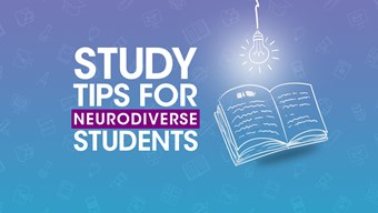 Study tips for neurodiverse students - lightbulb above open book