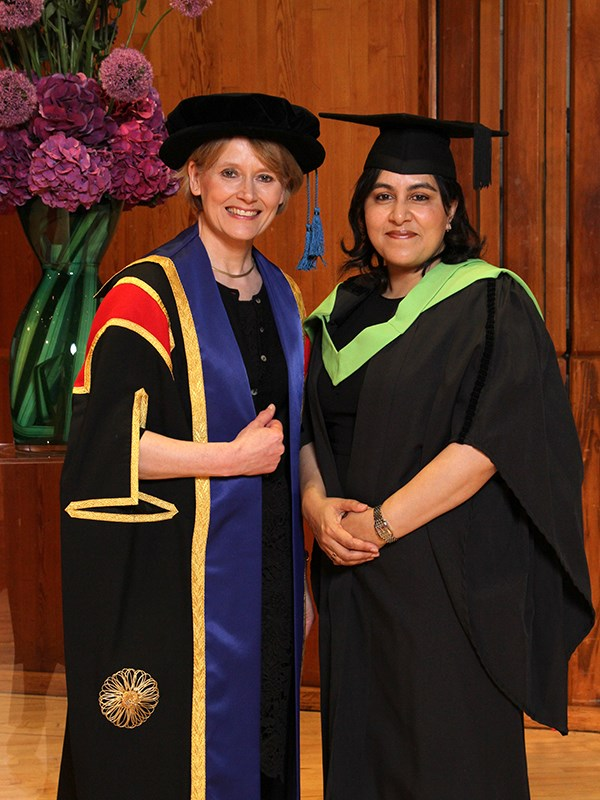 Professor Andrea Nollent Vice Chancellor/CEO and Baroness Sayeeda Warsi member of the House of Lords
